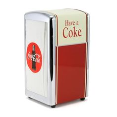 This Coca-Cola Have A Coke Tall Napkin Dispenser is an excellent vintage-style reproduction. Perfect for any kitchen, diner, or restaurant that serves Coke. Vintage Coca Cola, 50s Diner Kitchen, Vintage Kitchen, Retro Diner, Coca Cola Decor, Coca Cola Kitchen, Condiment Holder, Gadgets, Soda Fountain
