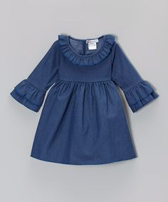 Loving this Denim Blue Ruffle Empire Tunic - Toddler & Girls on #zulily! #zulilyfinds