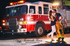 Love this firefighter engagement photo session! Firefighter Engagement Pictures, Firefighter Wedding, Firefighter Love, Engagement Couple, Fireman Wedding, Engagement Session, Engagement Ideas, Couple Photography, Engagement Photography