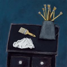 The Artist's Table, 12x12, Acrylic and Charcoal Pencil on Canvas 2015 Gabe Langholtz