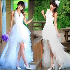 Inexpensive White Romantic Short V Neck Beach Flamenco Wedding Dress SKU-118141