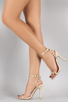 Description This ultra-chic open toe heel features a pyramid studded toe strap, single sole, and wrapped stiletto heel. Sexy Legs And Heels, Hot High Heels, Stilettos, Pumps, Ankle Strap Heels, Strappy Heels, Stiletto Shoes, Shoes Heels, Beautiful High Heels
