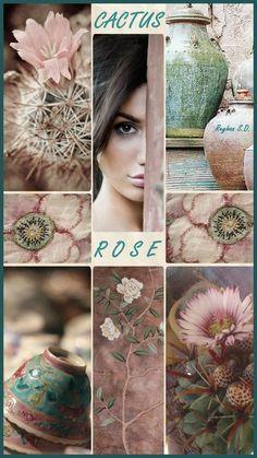 '' Cactus Rose '' by Reyhan S. Paint Color Schemes, Colour Pallete, Color Combos, Paint Colors, Pink Green Wedding, Pink And Green, Cactus Rose, Cactus Cactus, Color Collage