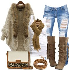 Looks I Love! I would Totally wear this entire Outfit! Love the little bit of Leopard on the Bag! Khaki Plain Irregular Fur Collar Cardigan #Street #Style #Fashion #Ideas #Cardigans #Sweaters #Tops #Leopard #Bag