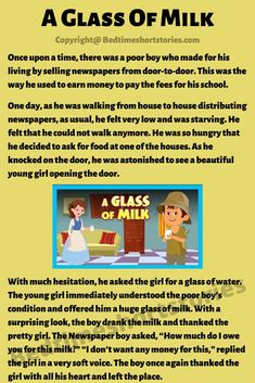 This is an amazing short moral story for kids online. Full story in link above, read now. English Stories For Kids, Moral Stories For Kids, Short Stories For Kids, English Story, Short Moral Stories, English Writing Skills, Mishka, Stella, Faith In Humanity