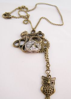 Keeping Time Watch Movement Steampunk Pendant Necklace Handmade Arts and Craft by ArtandThingsUK on Etsy