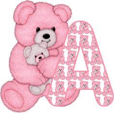 Alfabeto Decorativo: Alfabeto - Ursinha Rosa - PNG - Maiúsculas e Minús...