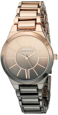 Anne Klein Women's AK/2154OMRG Rose Gold-Tone and Gunmetal Ombre Bracelet Watch * Check out the watch by visiting the link.