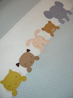 animals in a row appliqued