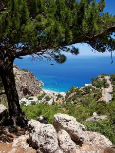 Looking down to the beach, Karpathos Island Greece