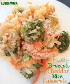 Healthy Broccoli Cheddar Brown Rice Casserole.  Easy to make from scratch without using any canned soups. Vegetarian meal or a great side dish. Alohamora Open a Book http://alohamoraopenabook.blogspot.com/
