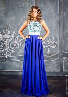 """Купить Платье """"Белые ночи Петербурга"""" - синий, орнамент, эксклюзивное платье, индивидуальный пошив"""