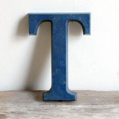 vintage  blue sign letter - T
