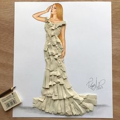 Fashion Illustrator Creates Gorgeous Dress Designs Using Everyday Objects. Design artist Edgar Artis uses adapted patterns items to make lovely dresses. 3d Fashion, Flower Fashion, Fashion Design Drawings, Fashion Sketches, Moda 3d, Fashion Illustration Dresses, Girly Drawings, Dress Drawing, Special Dresses