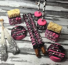 Sweets Table Set Marshmallows Oreos Cake Rice Krispie Treats Pretzels Rock Candy Black Silver Pink Baby Bridal Shower Birthday