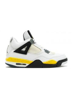 premium selection 39fa4 3576b Air Jordan 4 Retro Ls White Tour Yellow Dark Blue Grey Black 314254 171
