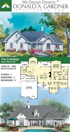 Keystone arches, gables, and stucco give European sophistication to this great plan, designed for the comfort of today's American family. The Evanleigh house plan 450.  #wedesigndreams #dongardnerarchitects #houseplans #homeplans #floorplans #onestoryhouse #onestoryhome #smallhouse #smallhome #traditionalhouse Family House Plans, Cottage House Plans, Country House Plans, Dream House Plans, Cottage Homes, Dream Houses, Unique Small House Plans, Bath Kit, One Story Homes