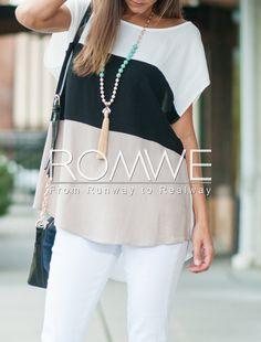 White Black Apricot Short Sleeve High Low T-shirt