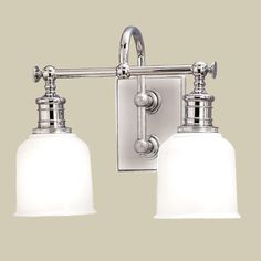 """Remmers: HIS VANITY LIGHT x 1   Well Appointed Bath Light - 2 Lt. (4 finishes!) 2 x100 watts (medium base socket) (11""""Hx13.5""""Wx8""""D) 6""""Hx4.25""""W backplate  Product SKU: BS10013 CH Price:  $299.00"""