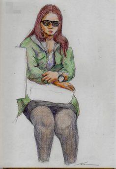 サングラスのお姉さん  It is a sketch of the woman of black sunglasses.  I drew on the train going to work.
