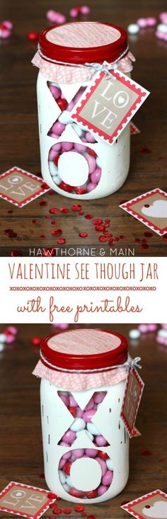 Valentine's Day See Through Jar {with free printable} - Princess Pinky Girl