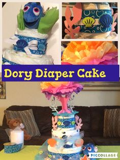 Dory diaper cake #crafty conjuring #finding dory Easy to make diaper cake with unique 3D topper.