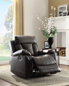 Ackerman Collection Reclining Chair 8500BLK-1 With a design style that is flexible for placement in number of living environments, the Ackerman will be a welcome addition to your home. Dual reclining ends are featured on the sofa and love seat for maximum comfort. That comfort extends to the matching reclining chair. The bonded leather match collection is offered in either grey or black.  Features: Ackerman Collection Contemporary Style Black Color Bonded Leather Match Cover Dimensions: 40 x…