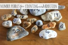 imaginationtree.com: Create some simple number pebbles to make a  natural play resource to add to the counting and math manipulatives at home or school. Perfect for counting, ordering, addition and subtraction activities, as well as being freely available and encouraging play with a range of natural objects. Have students bring one from home and/or bring one in from the playground/walk.