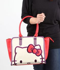 One to own: midsized #HelloKitty tote in gorgeous red, purple and beige color combo
