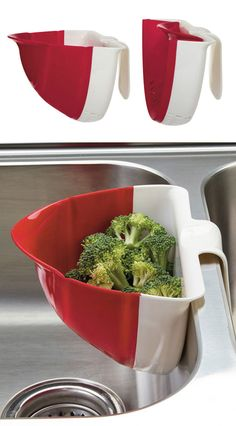 Collapsible Prep Colander // handle hooks for hands-free rinsing in the kitchen sink, folds up for easy storage #product_design