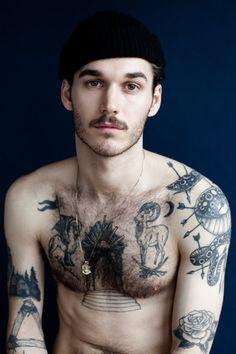 david flinn's beard and tattoos