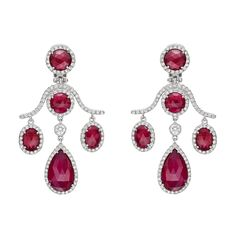 Estate Fred Leighton Ruby & Diamond Chandelier Earclips