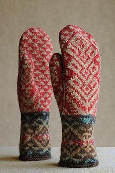 Knitting Patterns Mittens Ravelry: Kilim mittens pattern by Carol Sunday Knitted Mittens Pattern, Crochet Mittens, Knitted Gloves, Knitting Socks, Hand Knitting, Knit Crochet, Fingerless Mittens, Crochet Granny, Loom Knitting
