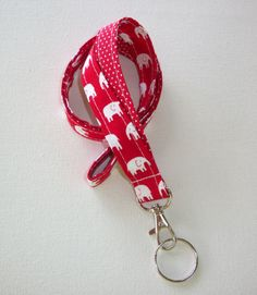 Lanyard Id Holder Key Leash badge holder - fabric red white elephants red dots #Handmade chic / cute / preppy / fabric / patterned / accessories / for you, co-worker or school gifts / home, office decor