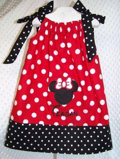 Minnie Mouse Applique Pillowcase Dress by TheTurtleTrain on Etsy, $29.00
