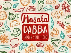 Masala Dabba is the Hindi phrase for the traditional tin spice container used in Indian kitchens and has an additional meaning of lunchbox. Had so much fun working on this branding, but man did I w. Food Graphic Design, Food Menu Design, Food Truck Design, Food Branding, Logo Food, Logo Restaurant, Restaurant Design, Spice Logo, Tapas