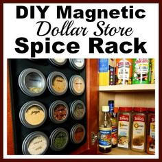 If your spice cabinet is disorganized, you need to try this easy (and frugal) DIY organizer! Here's how to make a magnetic dollar store spice rack!