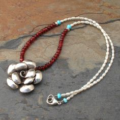 Garnet Pearl Turquoise Thai Hill Tribe Silver Necklace