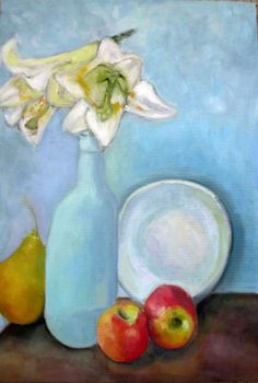 fruit painting still life flower painting bottle painting original oil painting flower art white lily painting pear painting kitchen decor