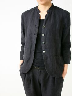 hemp linen short jacket and narrow tuck pants