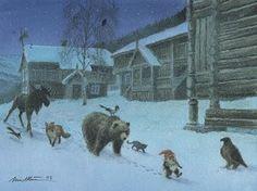by Kjell Einar Midthun Winter Illustration, Beauty Illustration, Christmas Illustration, Baumgarten, Kobold, Photo D Art, Theme Noel, Scandinavian Art, Scandinavian Christmas