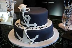"nautical themed shower: ""ahoy it's a boy"" cake. pink with blue anchor Baby Shower Cakes For Boys, Baby Shower Decorations For Boys, Baby Shower Themes, Baby Boy Shower, Shower Ideas, Baby Shower Yellow, Baby Yellow, Anchor Cakes, Cake Pops"