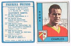 """John Charles (AS Roma, 1962–1963, 10 apps, 4 goals), from a series called """"Calciatori 1963/1964"""" by Panini. A scarce Italian-only issue, not seen in the UK. A typical sticker-sized card."""