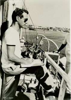 Paul Newman on a yacht