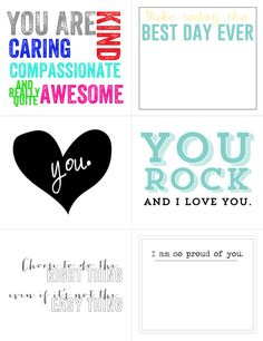 FREE Printable Lunch Box Notes (Good for big kids)