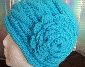 Hand Made Cable Knitted Teen Turquoise Rose Beanie Hat - Adult-Women-Kids