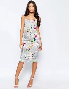 Image 4 of ASOS Hitchcock Midi Pencil Dress In Grey Floral
