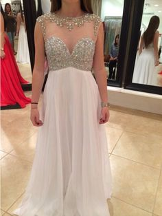 103.73$  Buy here - http://viktf.justgood.pw/vig/item.php?t=ch9xl4a27215 - Custom White Chiffon A-Line Evening Dresses Formal Party Prom Bridal Gowns 103.73$