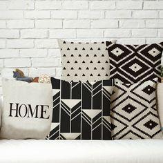 Nordic bianco e nero geometrica creativo animale biancheria in cotone cuscino per divano car home decor cuscini almofada emoji cojines(China (Mainland))