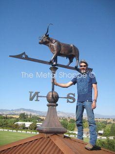 Custom Copper Longhorn Steer Weathervane  outdoor products